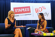 TV personality Leeza Gibbons, left, and OK! TV host Julie Alexandria chat about back-to-school trends during Staples BTS Live! at BlogHer15 in New York, Friday, July 17, 2015.  (Photo by Diane Bondareff/Invision for Staples/AP Images)