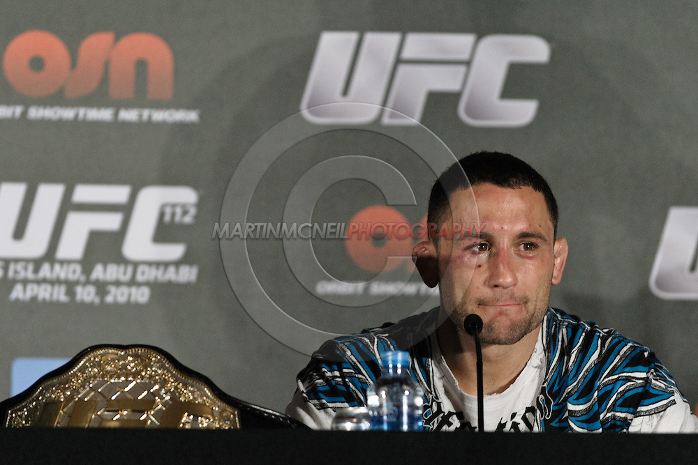 "ABU DHABI, UNITED ARAB EMIRATES, APRIL 10, 2010: Frankie Edgar is pictured at the post-fight press conference for ""UFC 112: Invincible"" inside Ferrari World, Abu Dhabi"