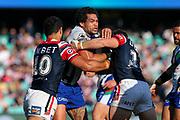 Adam Blair is tackled. Sydney Roosters v Vodafone Warriors. NRL Rugby League. Sydney Cricket Ground, Sydney, Australia. 18th August 2019. Copyright Photo: David Neilson / www.photosport.nz