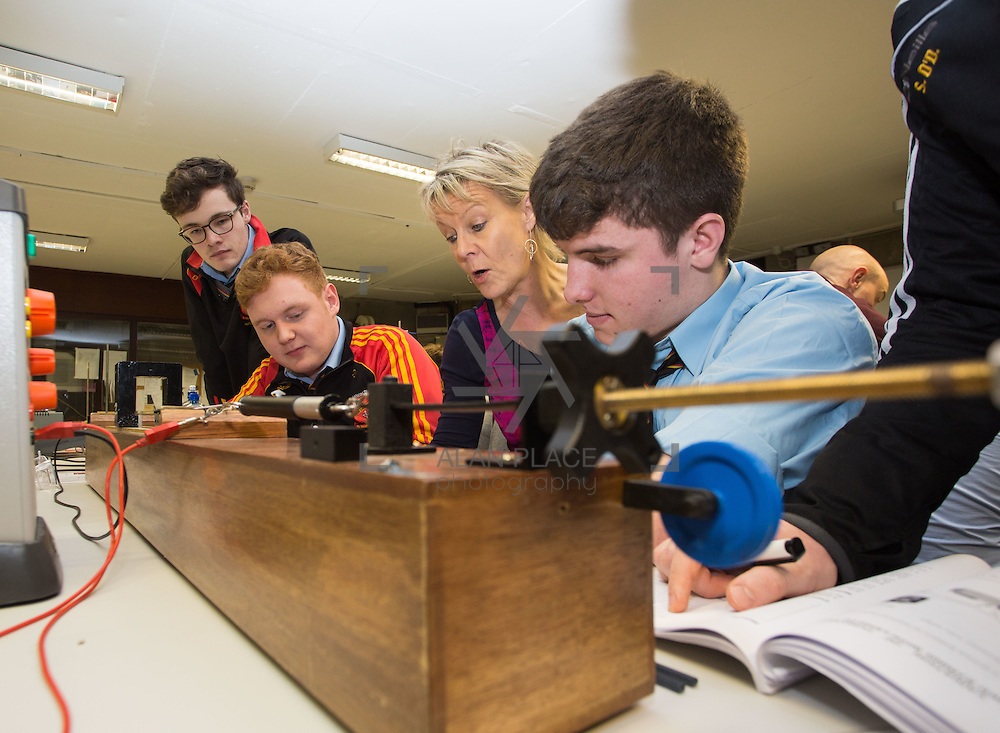 10.01.2017           <br /> Hundreds of second-level students from across the region are taking part in Leaving Cert Revision science experiments at University of Limerick&rsquo;s state-of-the-art laboratories this week.<br /> <br /> Taking part in the Physics Leaving Cert Revision science experiments were, Ard Scoil Ris , LImerick students, Emmet Fitzgerald, Oisin Lally and Darragh O'Driscoll with Catherine Casey of Ard Scoil Ris.<br />  <br /> UL&rsquo;s departments of Biological Sciences and Physics hosted dozens of schools carrying out practical experiments from the Leaving Certificate Biology and Physics curriculums. Picture: Alan Place