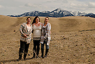 Sisters, walking, foothills of Absaroka Mountains, southwest of Livingston, Montana, Reinke Family