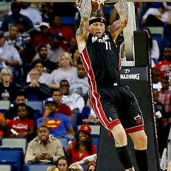 Oct 23, 2013; New Orleans, LA, USA; Miami Heat power forward Chris Andersen (11) dunks against the New Orleans Pelicans during the first half of a preseason game at New Orleans Arena. Mandatory Credit: Derick E. Hingle-USA TODAY Sports