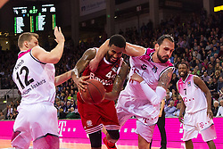 28.03.2016, Telekom Dome, Bonn, GER, Beko Basketball BL, Telekom Baskets Bonn vs FC Bayern Muenchen, 23. Runde, im Bild Dirk Maedrich (Telekom Baskets Bonn #5) und Florian Koch (Telekom Baskets Bonn #12) gegen Bryce Taylor (FC Bayern Muenchen #44) // during the Beko Basketball Bundes league 23th round match between Telekom Baskets Bonn and FC Bayern Munich at the Telekom Dome in Bonn, Germany on 2016/03/28. EXPA Pictures © 2016, PhotoCredit: EXPA/ Eibner-Pressefoto/ Schüler<br /> <br /> *****ATTENTION - OUT of GER*****