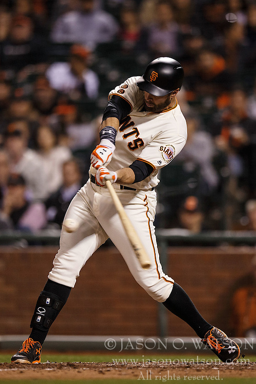 SAN FRANCISCO, CA - APRIL 18: Brandon Belt #9 of the San Francisco Giants at bat against the Arizona Diamondbacks during the fifth inning at AT&T Park on April 18, 2016 in San Francisco, California. The Arizona Diamondbacks defeated the San Francisco Giants 9-7 in 11 innings.  (Photo by Jason O. Watson/Getty Images) *** Local Caption *** Brandon Belt