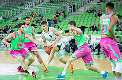 Djordje Simeunovic of Mega Leks vs Blaz Mesicek #9 of KK Union Olimpija during basketball match between KK Union Olimpija Ljubljana and KK Mega Leks (SRB) in 11th Round of ABA League 2015/16, on November 21, 2015 in Arena Stozice, Ljubljana, Slovenia. Photo by Vid Ponikvar / Sportida