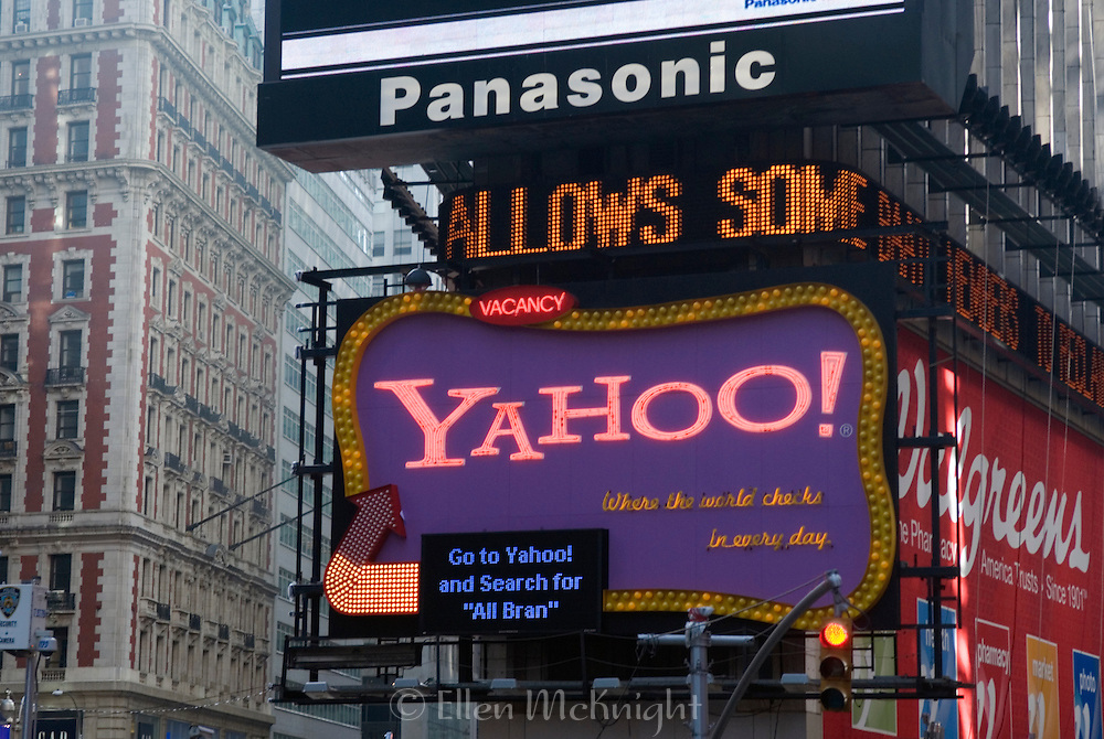 Yahoo Sign at Times Square. On February 1, 2008, Microsoft made a hostile $44.6 billion offer for Yahoo in an attempt to counter Google's dominance in the online search and advertising markets.