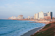 The skyline and beach front of Tel Aviv, Israel looking north