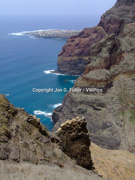 Looking down on Ponta do Sol from the road to Fontainhas, Santo Antao, Republic of Cabo Verde, Africa.