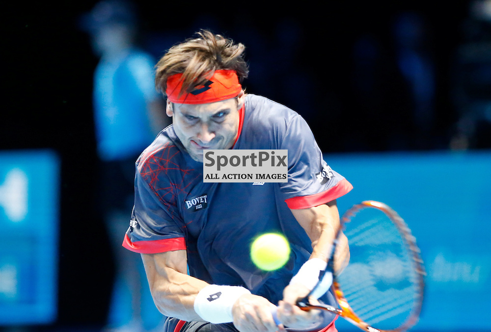 David Ferrer making a return. ATP Finals 2015 at O2 Arena, London. Andy Murray plays David Ferrer in their first match in the Group Ilie Nastase. 16th November 2015. (c) Matt Bristow | SportPix.org.uk
