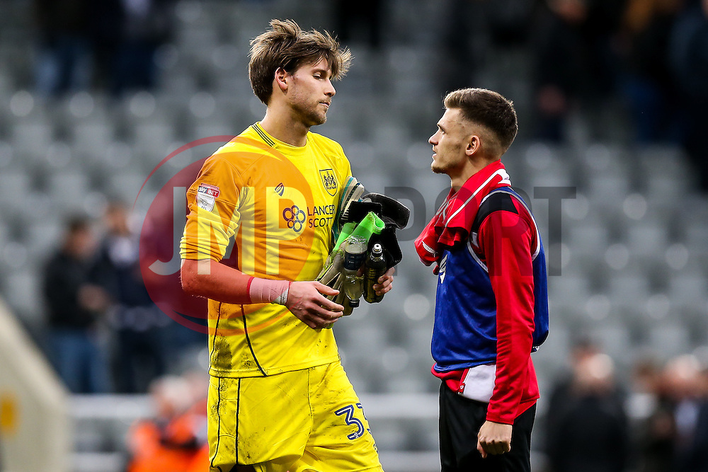 Fabian Giefer of Bristol City looks frustrated after the game ends 2-2 with City having led 0-2 at half time - Rogan Thomson/JMP - 25/02/2017 - FOOTBALL - St James' Park - Newcastle, England - Newcastle United v Bristol City - Sky Bet EFL Championship.