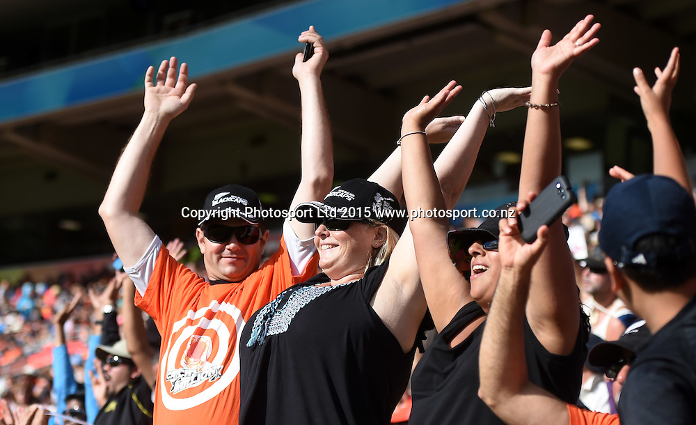 Fans doing the mexican wave during the ICC Cricket World Cup quarter final match between New Zealand Black Caps and the West Indies, Wellington, New Zealand. Saturday 21March 2015. Copyright Photo: Andrew Cornaga / www.Photosport.co.nz