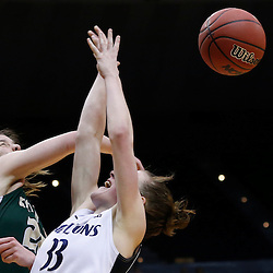 Mar 24, 2013; Baton Rouge, LA, USA; Cal Poly Mustangs guard Caroline Reeves (22) blocks a shot by Penn State Lady Lions guard Maggie Lucas (33) in the second half during the first round of the 2013 NCAA womens basketball tournament at the Pete Maravich Assembly Center. Penn State defeated Cal Poly 85-55. Mandatory Credit: Derick E. Hingle-USA TODAY Sports