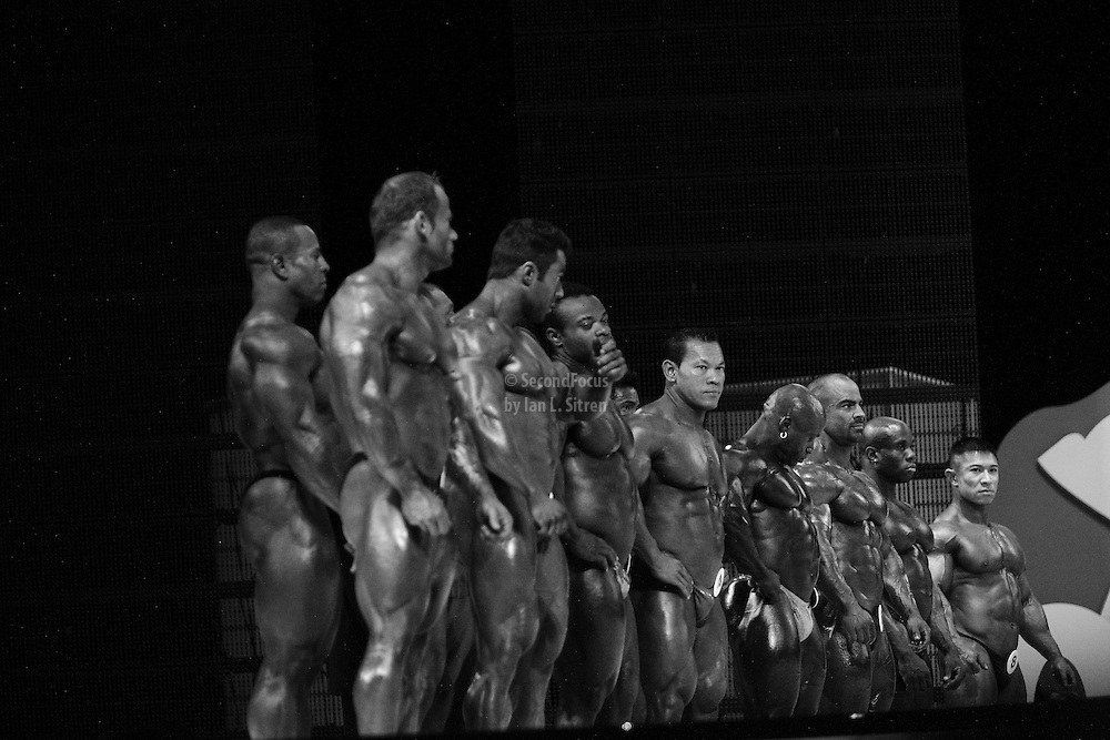 On stage at the finals for the 2009 Olympia 202 competition in Las Vegas.