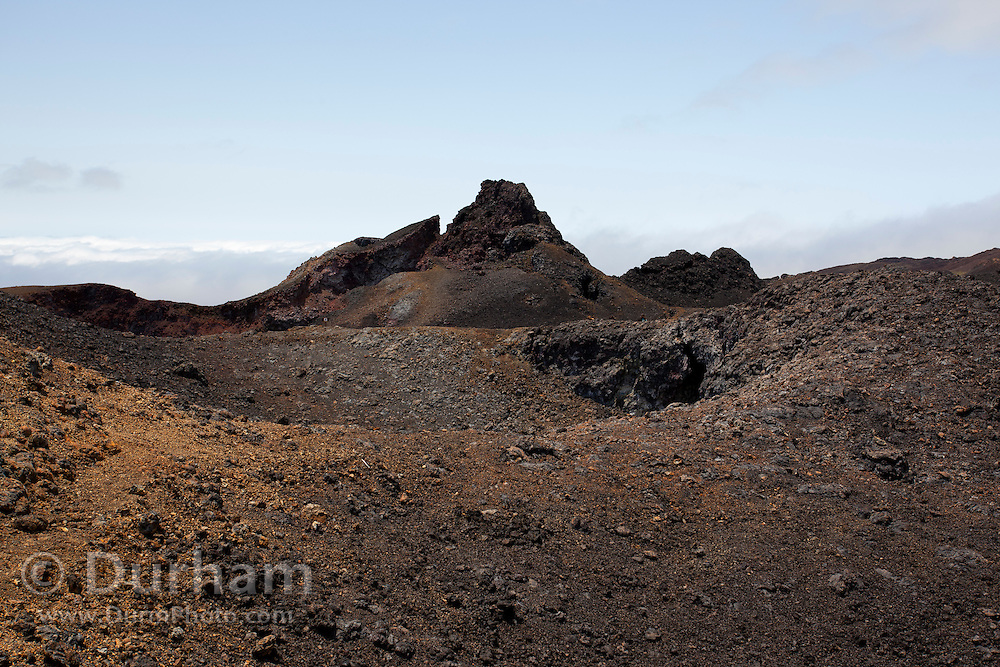 A harsh volcanic landscape inside the crater of Sierra Negra on Isabela Island, Galapagos Archipelago - Ecuador.