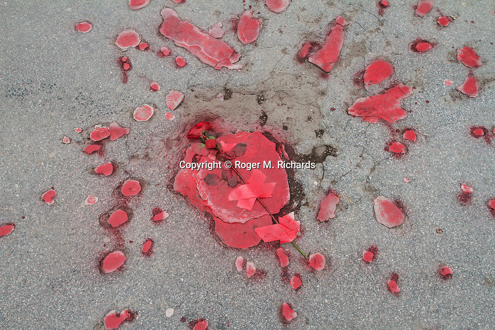A 'Sarajevo rose', the impact mark in the pavement left by an exploding mortar or artillery shell from the 48 month Bosnian Serb siege of Sarajevo. The city is littered with these 'roses', the 'petals' filled in with plastic resin. Photo made on April 6, 2012, the 20th anniversary of the beginning of the siege.