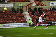 Swindon Town's Jonathan Obika scores the first goal during the Sky Bet League 1 match between Swindon Town and Walsall at the County Ground, Swindon, England on 24 November 2015. Photo by Shane Healey.