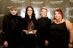AMF Junior<br /> <br /> Eve Touhy, Model<br /> Michaela O'Mara, winner from Rustiq, Kilkenny<br /> Beatrice O'Donovan, Alfaparf Milano Ireland<br /> Mel Lowry