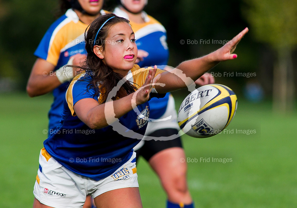 30 September 2011:  Action during a women's rugby game between the University of British Columbia Thunderbirds and the University of Calgary Dinos at Thunderbird Park, University of British Columbia, Vancouver, BC, Canada.  Final Score:  UBC    Uof C    ****(Photo by Bob Frid/UBC Athletics) 2011 All Rights Reserved****