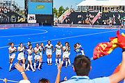 Spain celebrate winning the  Bronze Medal with fans at the Vitality Hockey Women's World Cup 2018 Bronze Medal match between Australia and Spain, at the Lee Valley Hockey and Tennis Centre, QE Olympic Park, United Kingdom on 5 August 2018. Picture by Martin Cole.