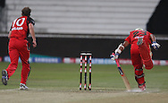 Vinay Kumar just gets in safe during match 11 of the Airtel CLT20 between The South Australian Redbacks and The Royal Challengers Bangalore held at Kingsmead Stadium in Durban on the 17 September 2010..Photo by: Steve Haag/SPORTZPICS/CLT20.