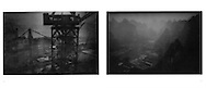 L:  Three Gorges Dam construction site.  Sandouping, Hubei Province, China.  1997..R:  Forest of karst mountains, backlit.  Yangshuo, Guangxi, China.  2000