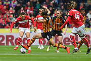 Bristol City midfielder Josh Brownhill (8) and Hull City midfielder Kevin Stewart (6) during the EFL Sky Bet Championship match between Hull City and Bristol City at the KCOM Stadium, Kingston upon Hull, England on 5 May 2019.