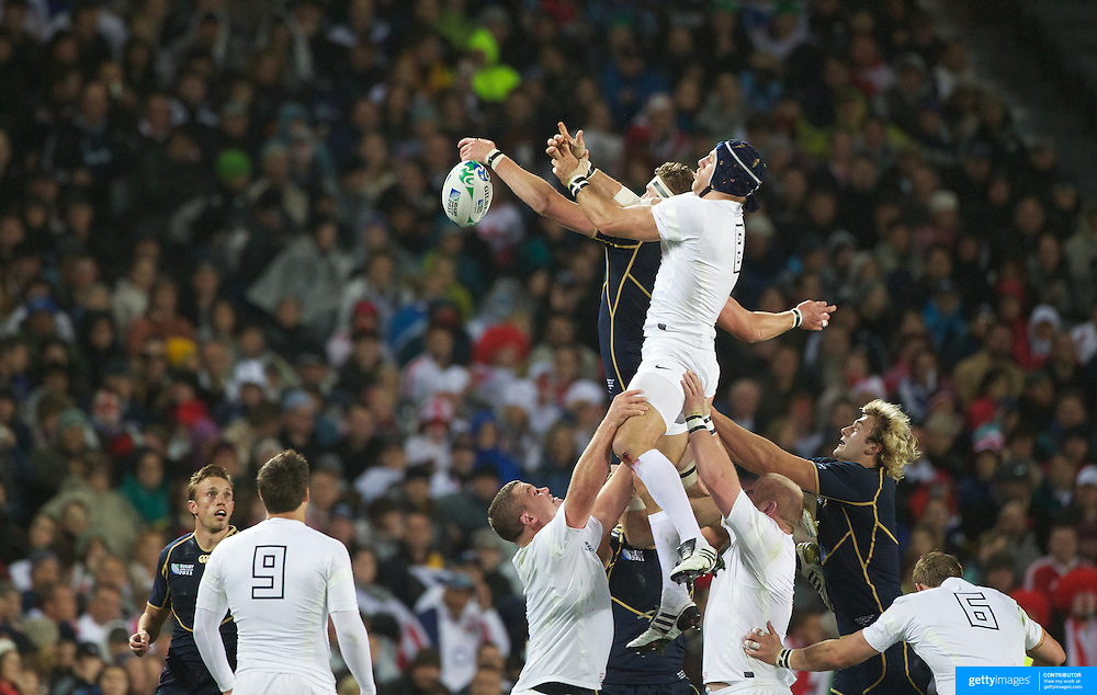 James Haskell, England, wins a line out during the England V Scotland Pool B match during the IRB Rugby World Cup tournament. Eden Park, Auckland, New Zealand, 1st October 2011. Photo Tim Clayton...