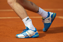 MONTE-CARLO, MONACO - Monday, April 12, 2010: The strapped left ankle of Andy Murray (GBR) during the Men's Doubles 1st Round match at the ATP Masters Series Monte-Carlo at the Monte-Carlo Country Club. (Photo by David Rawcliffe/Propaganda)