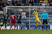 10th August 2019; Dens Park, Dundee, Scotland; SPFL Championship football, Dundee FC versus Ayr; Jack Hamilton of Dundee clutches a cross in injury time
