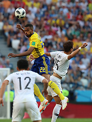 NIZHNY NOVGOROD, June 18, 2018  Isaac Kiese Thelin (top) of Sweden vies with Jung Wooyoung (R) of South Korea during a group F match between Sweden and South Korea at the 2018 FIFA World Cup in Nizhny Novgorod, Russia, June 18, 2018. Sweden won 1-0. (Credit Image: © Yang Lei/Xinhua via ZUMA Wire)