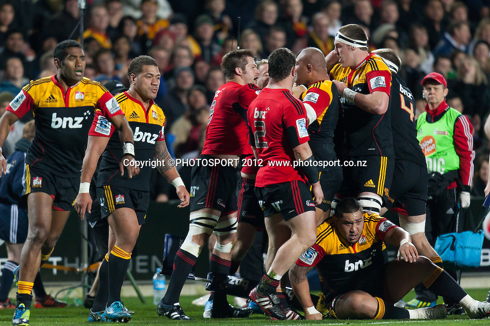 A scuffle amongst the forwards during the Super Rugby Semi Final won by the Chiefs (20-17) against the Crusaders at Waikato Stadium, Hamilton, New Zealand, Friday 27 July 2012. Photo: Stephen Barker/Photosport.co.nz
