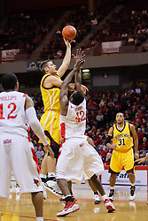 05 December 2009: Marko Spica and Dinma Odiakosa go one on one as Spica works his way in for a hook shot. The Chippewas of Central Michigan are defeated by the Redbirds of Illinois State 75-62 on Doug Collins Court inside Redbird Arena in Normal Illinois.