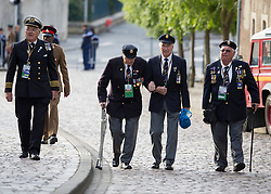 © Licensed to London News Pictures. 06/06/2014. Bayeux, Normandy.  Veterans and their guests arrived at the Royal British Legions 70th Anniversary service of the D Day landings in the cathedral at Bayeux this morning.  The majority of the 600 veterans attended the service along with HRH The Queen and Prince Phillip. Photo credit : Alison Baskerville/LNP