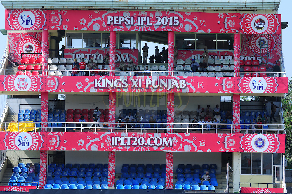 Branding during match 53 of the Pepsi IPL 2015 (Indian Premier League) between The Kings XI Punjab and The Chennai Superkings held at the Punjab Cricket Association Stadium in Mohali, India on the 16th May 2015.<br /> <br /> Photo by:  Arjun Panwar / SPORTZPICS / IPL