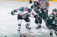 KELOWNA, CANADA - JANUARY 23:Remi Laurencelle #13 of Everett Silvertips checks Rourke Chartier #14 of Kelowna Rockets after the face off on January 23, 2015 at Prospera Place in Kelowna, British Columbia, Canada.  (Photo by Marissa Baecker/Shoot the Breeze)  *** Local Caption *** Rourke Chartier; Remi Laurencelle;