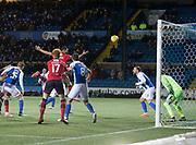 ,13th February 2018, Rugby Park, Kilmarnock, Scotland; Scottish Premiership football, Kilmarnock versus Dundee; Steven Caulker of Dundee scores for 2-1