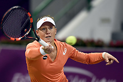 Samantha Stosur of Australia returns the ball during the first round match against Lucie Safarova of the Czech Republic in the WTA Qatar Open tennis tournament in Doha, Qatar, Feb. 23, 2015. Samantha Stosur lost 0-2. EXPA Pictures © 2015, PhotoCredit: EXPA/ Photoshot/ Chen Shaojin<br /> <br /> *****ATTENTION - for AUT, SLO, CRO, SRB, BIH, MAZ only*****