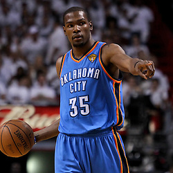 Jun 17, 2012; Miam, FL, USA; Oklahoma City Thunder small forward Kevin Durant (35) against the Miami Heat during the first quarter in game three in the 2012 NBA Finals at the American Airlines Arena. Mandatory Credit: Derick E. Hingle-US PRESSWIRE