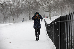 © Licensed to London News Pictures. 28/02/2018. London, UK. Snowy scenes in Greenwich Park following heavy snowfall and sub zero temperatures overnight. The cold weather originating in Siberia has been dubbed 'the Beast from the East'.  Photo credit : Tom Nicholson/LNP