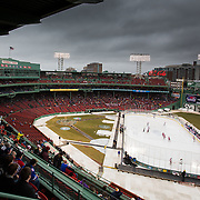 A general view of the Frozen Fenway game between The Northeastern Huskies and The UMass Lowell Riverhawks at Fenway Park on January 11, 2014 in Boston, Massachusetts.