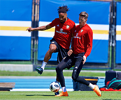 LOS ANGELES, USA - Saturday, May 26, 2018: Wales' captain Ashley Williams and goalkeeper Wayne Hennessey during a training session at the UCLA Drake Track and Field Stadium ahead of the International friendly match against Mexico. (Pic by David Rawcliffe/Propaganda)