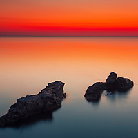 Very calm seascape at dawn in springtime