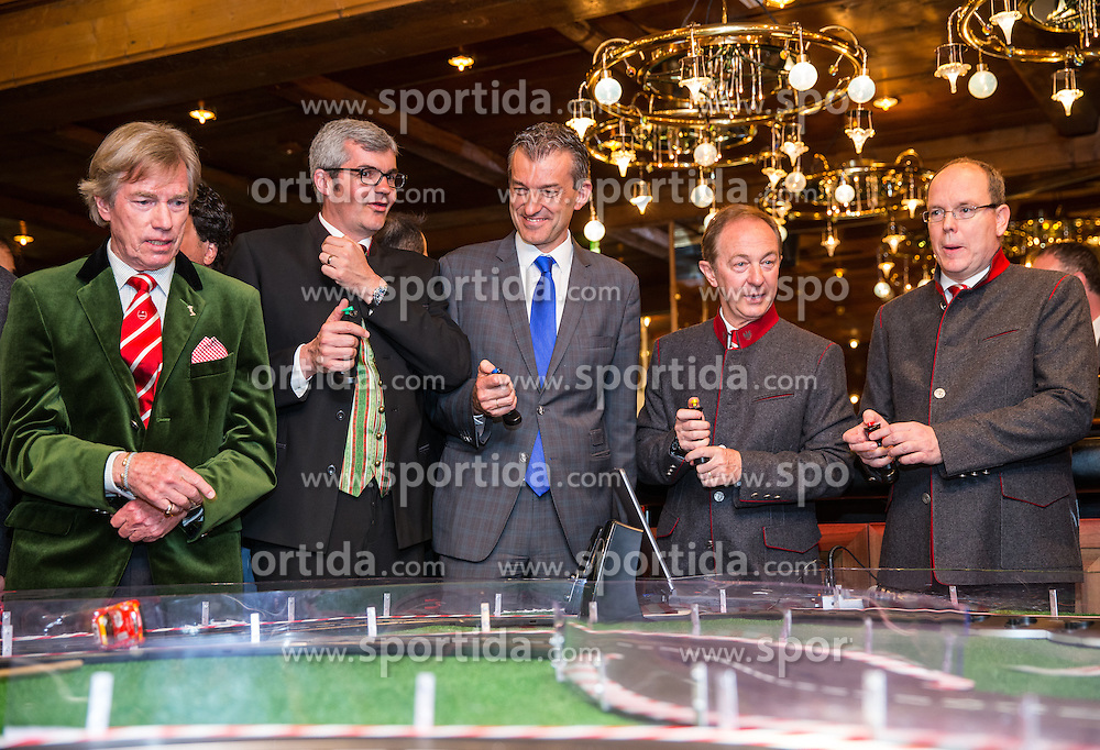 22.03.2014, Casino, Seefeld, AUT, 8. World Star Ski Event, Star Team for Children, im Bild v.l. Leopold von Bayern, Werner Frieser (Bürgermeister Seefeld), Mag. Ernst Hubmann (Casino Seefeld), Mauro Serra (Star Team President), Prinz Albert II von Monaco // during the Star Team for Children of 8th World Star Ski Event at the Casino in Seefeld, Austria on 2014/03/22. EXPA Pictures © 2014, PhotoCredit: EXPA/ Johann Groder