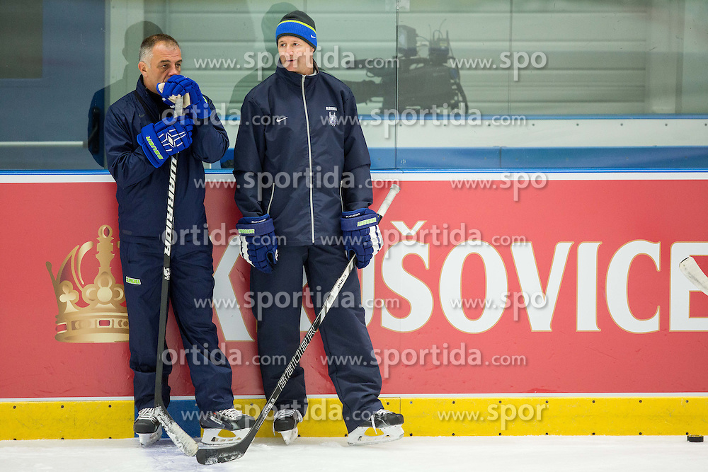 Matjaz Kopitar, head coach and his assistant Nik Zupancic during practice session of Slovenian National Ice Hockey Team 1 day prior to the 2015 IIHF World Championship in Czech Republic, on April 30, 2015 in Practice arena Ostrava, Czech Republic. Photo by Vid Ponikvar / Sportida