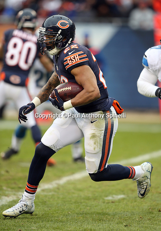 Chicago Bears running back Matt Forte (22) runs the ball in the third quarter during the NFL week 17 regular season football game against the Detroit Lions on Sunday, Jan. 3, 2016 in Chicago. The Lions won the game 24-20. (©Paul Anthony Spinelli)