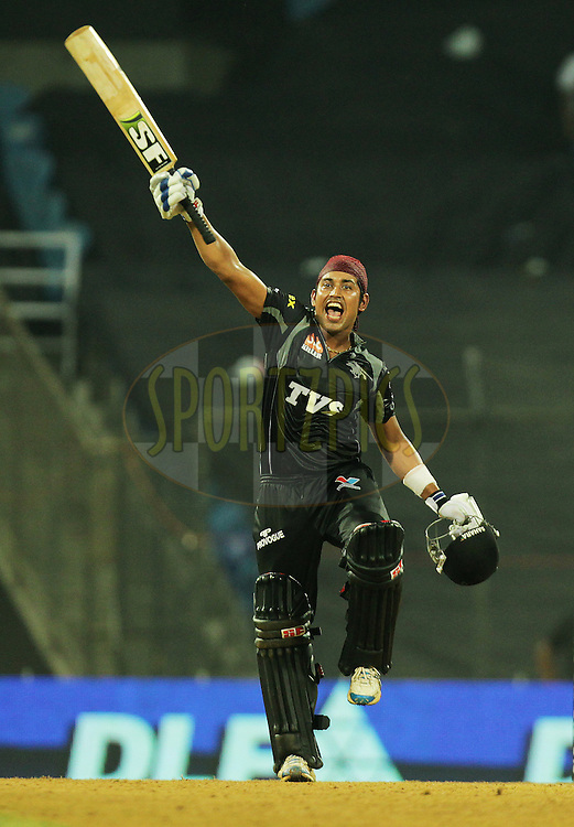 Pune Warriors player Monish Mishra celebrates after winning against Team Kochi Tuskers Kerala during  match 10 of the Indian Premier League ( IPL ) Season 4 between the Pune Warriors and the Kochi Tuskers Kerala held at the Dr DY Patil Sports Academy, Mumbai India on the 13th April 2011..Photo by BCCI/SPORTZPICS