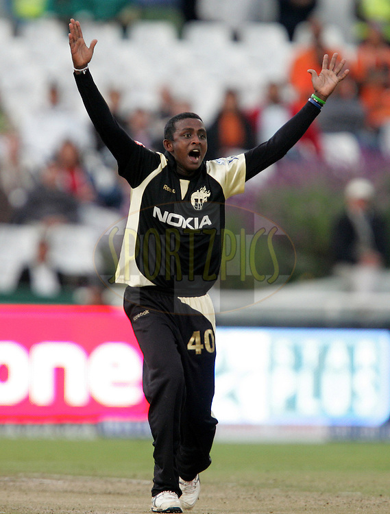 CAPE TOWN, SOUTH AFRICA - 23 April 2009. Ajuntha Mendis appeals for Graeme Smith's wicket during the  IPL Season 2 match between the Kolkata Knight Riders and the Rajasthan Royals held at Sahara Park Newlands in Cape Town, South Africa..
