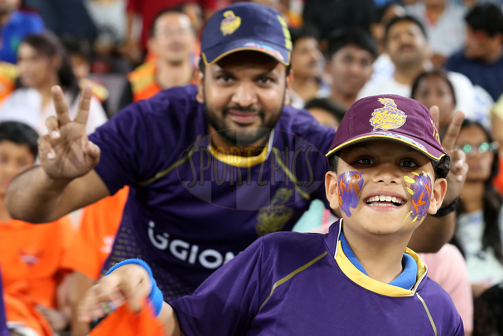 Fans during match 37 of the Vivo 2017 Indian Premier League between the Sunrisers Hyderabad and the Kolkata Knight Riders  held at the Rajiv Gandhi International Cricket Stadium in Hyderabad, India on the 30th April 2017<br /> <br /> Photo by Faheem Hussain - Sportzpics - IPL