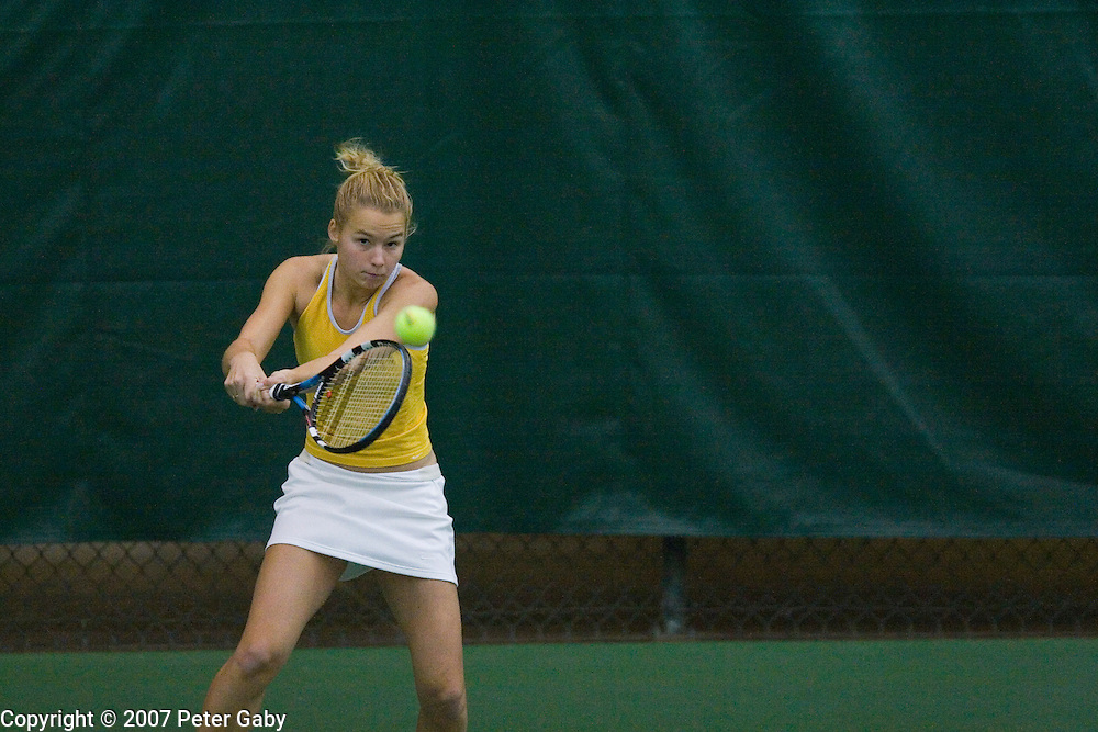 15th ranked Kristi Miller from GA. Tech. during play at the 2007 USTA/ITA National Women's Team Indoor Championships at the Nielsen Tennis Stadium, Feb. 1st-4th hosted by the University of Wisconsin.
