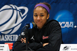 March 18, 2011; Stanford, CA, USA; St. John's Red Storm forward Da'Shena Stevens (3) at a press conference the day before the first round of the 2011 NCAA women's basketball tournament at Maples Pavilion.